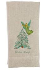 Angel with Tree Flax Tea Towel
