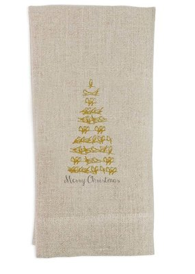 Gold Bird Tree Tea Towel | Linen