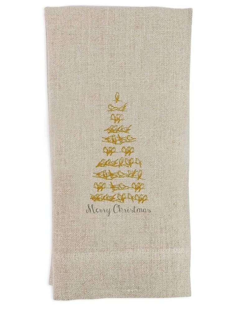 Gold Bird Tree Flax Tea Towel