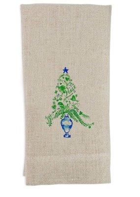 Joy and Peace Topiary Tea Towel | Linen