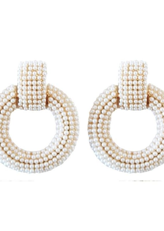 Pearl Doorknocker Drop Earrings