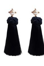 Black  Pearl Tassel Earrings