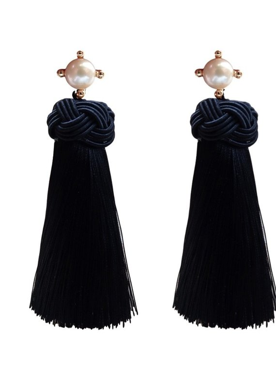 Black  Pearl Tassel Earrings
