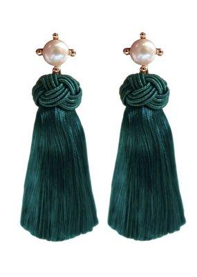 Emerald Pearl Tassel Earrings