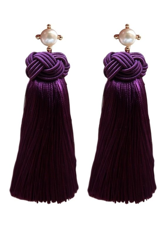 Plum Pearls Tassel Earrings