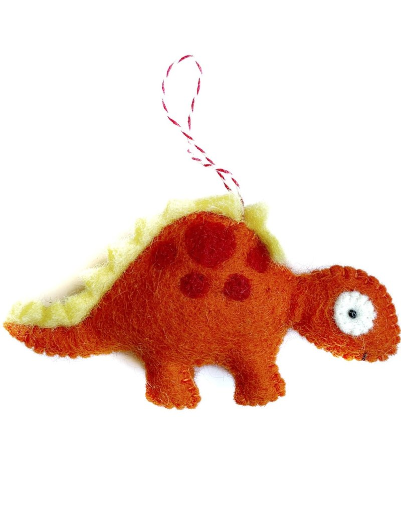 Wool Orange Dinosaur Ornament