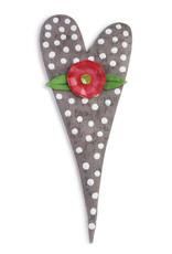 Grey Polka Dot Heart Door Hanger