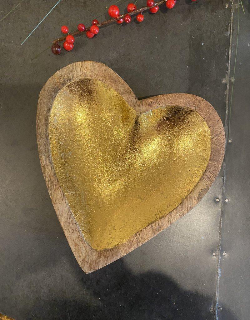 Gold Mango Wood Heart Bowl