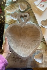 Grey Wood Heart Handle Tray