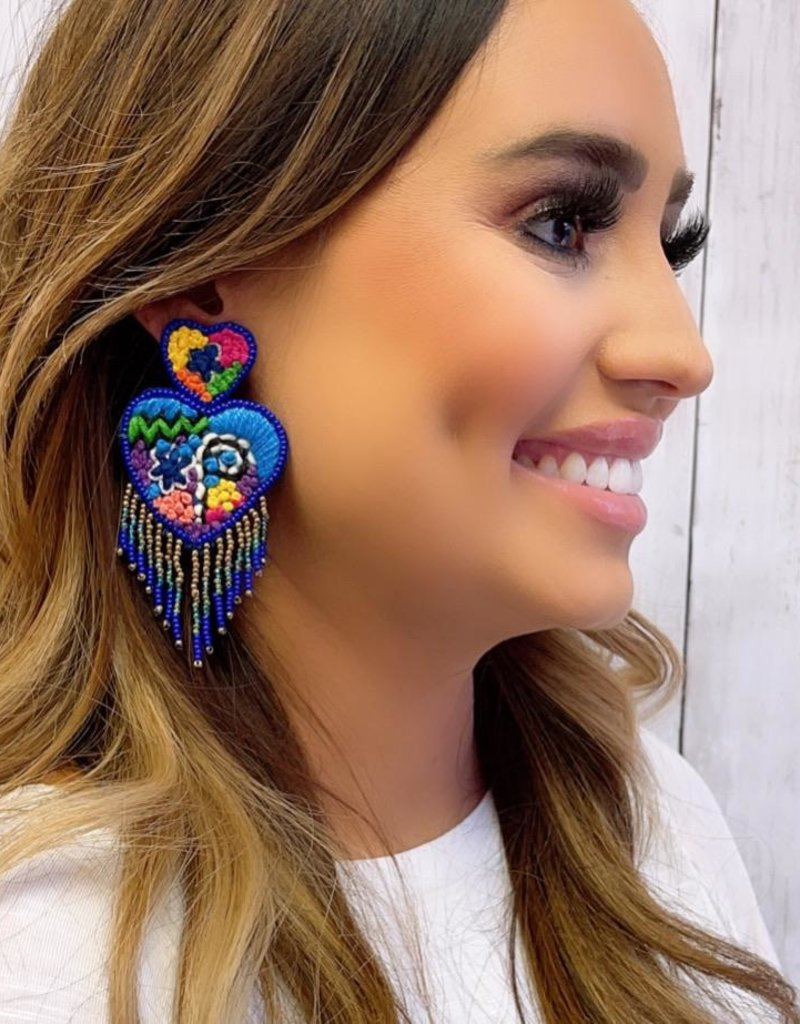 Blue Heart Embroidery Statement Earring