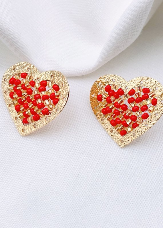 Gold & Red Beaded Heart Studs