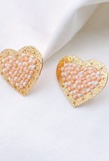 Gold & Nude Beaded Heart Studs