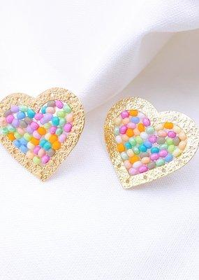 Gold & Multi Beaded Heart Studs