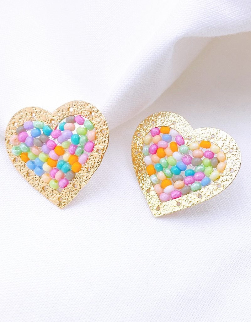 Gold & Multi Beaded Heart Studs