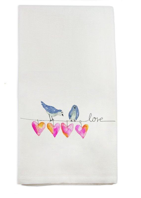 Bird With Hearts Tea Towel   Cotton