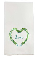 Green Wreath Heart with Love Tea Towel