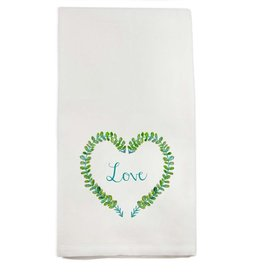 Love Heart Wreath Tea Towel | Cotton