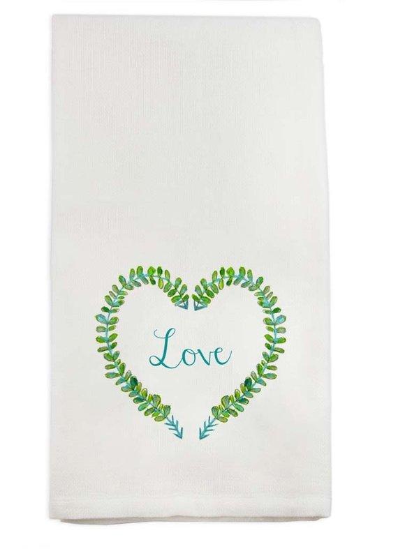 Love Heart Wreath Tea Towel   Cotton