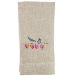 Bird With Hearts Towel | Linen