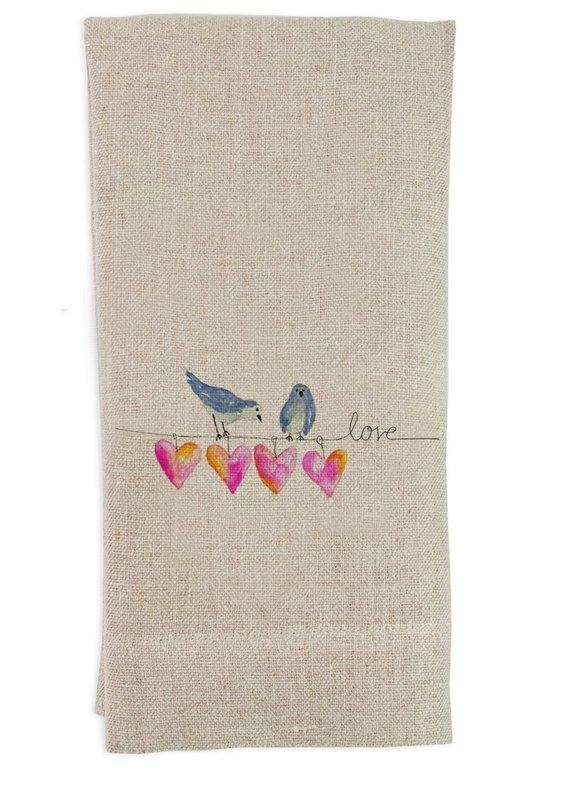 Bird With Hearts Towel   Linen