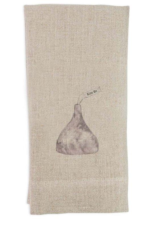 Kiss Me Tea Towel   Linen