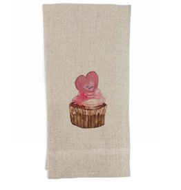 Be Mine Cupcake Tea Towel | Linen