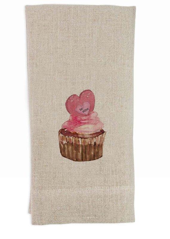 Be Mine Cupcake Tea Towel   Linen