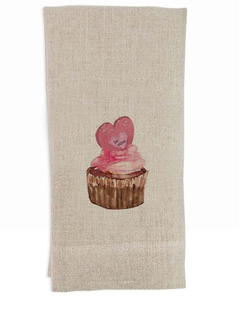Be Mine Cupcake Flax Tea Towel