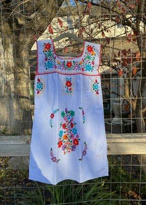 Blue Stripe Embroidered Girls Dress