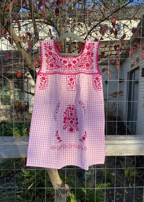 Pink Gingham Embroidered Girls Dress