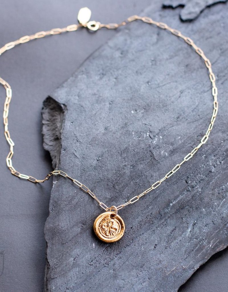 Be Strong Gold Coin Necklace