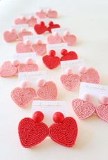 Pink Holiday Hearts Earrings