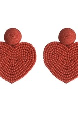 Red Holiday Hearts Earrings
