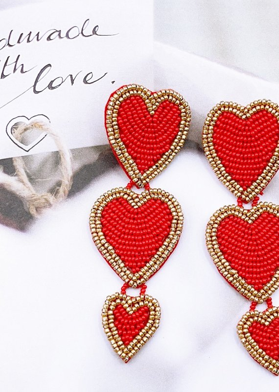 Red Triple Heart Statement Earring