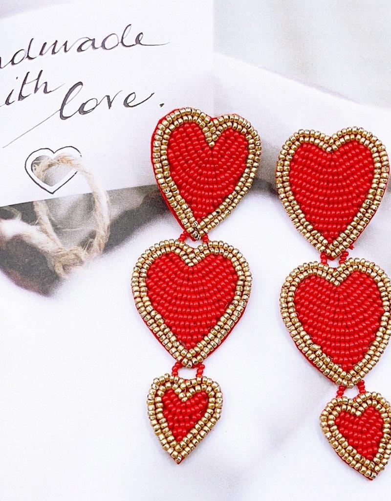 Red Triple Heart Statement Earring