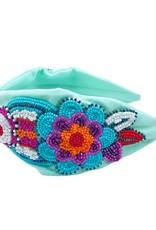 Blue Peonies Beaded Headband