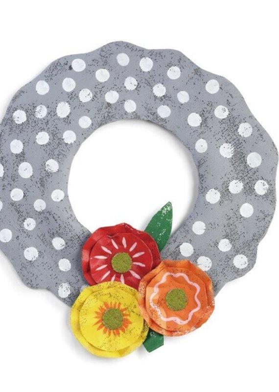 Grey Polka Dot Wreath with Flowers Door Hanger