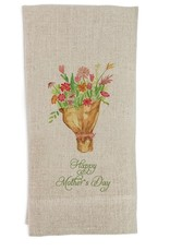 Tied Flowers Mothers Day Tea Towel Flax