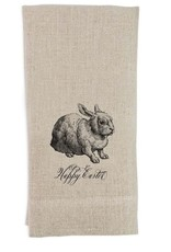 Happy Easter BW Bunny Tea Towel Flax