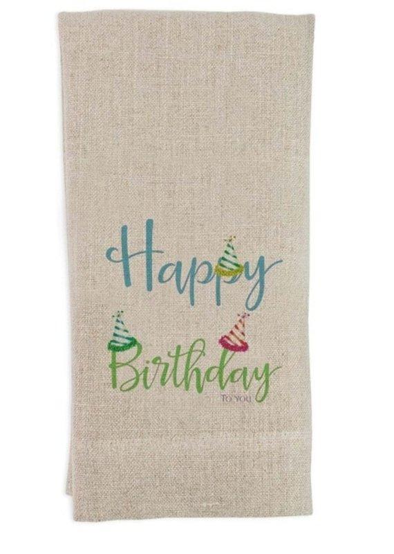 Happy Birthday Tea Towel | Flax Linen