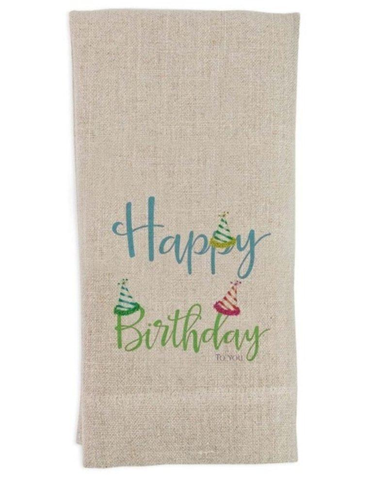 Happy Birthday with Hats Tea Towel Flax
