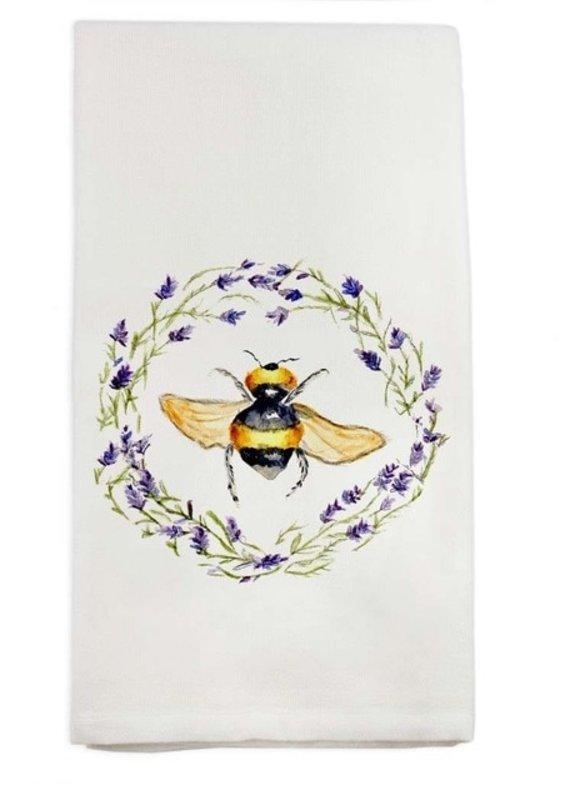 Bee in Wreath Linen Tea Towel | Cotton