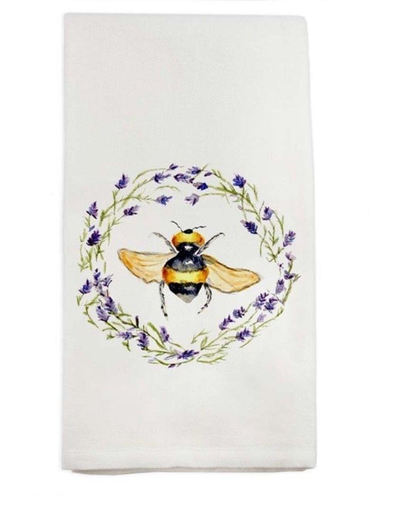 Bee in Wreath Linen Tea Towel