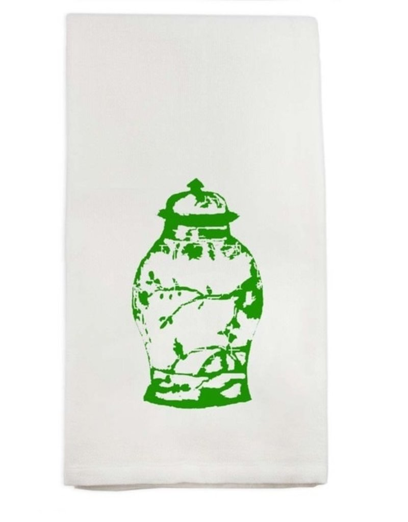 Green Ginger Jar Tea Towel - cotton