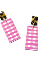 Pink Gingham Horn Cabana Earrings