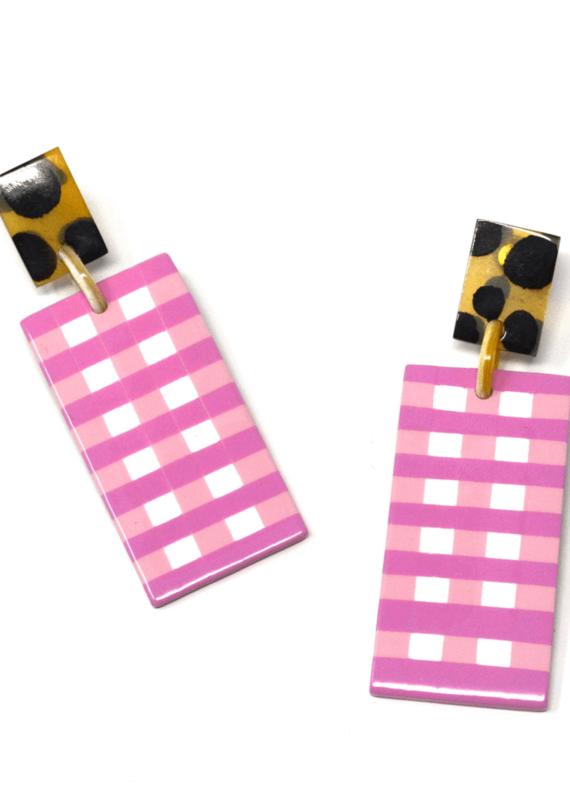 Gingham Horn Cabana Earrings | Pink