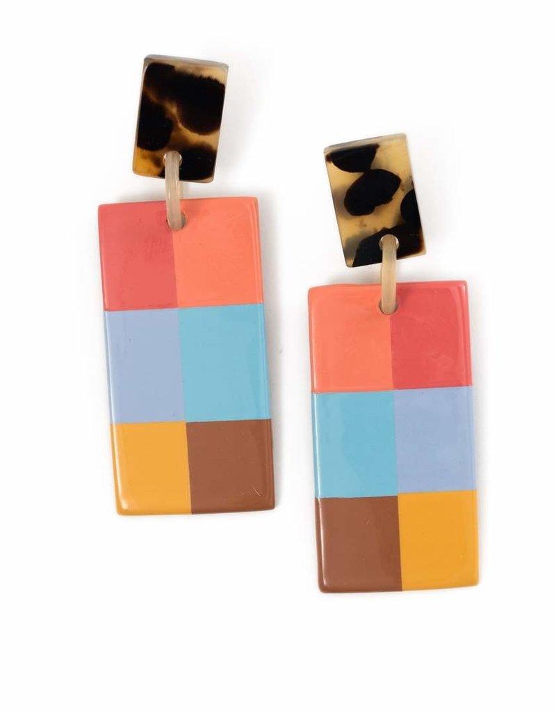 Colorful Plaid Cabana Horn Earrings