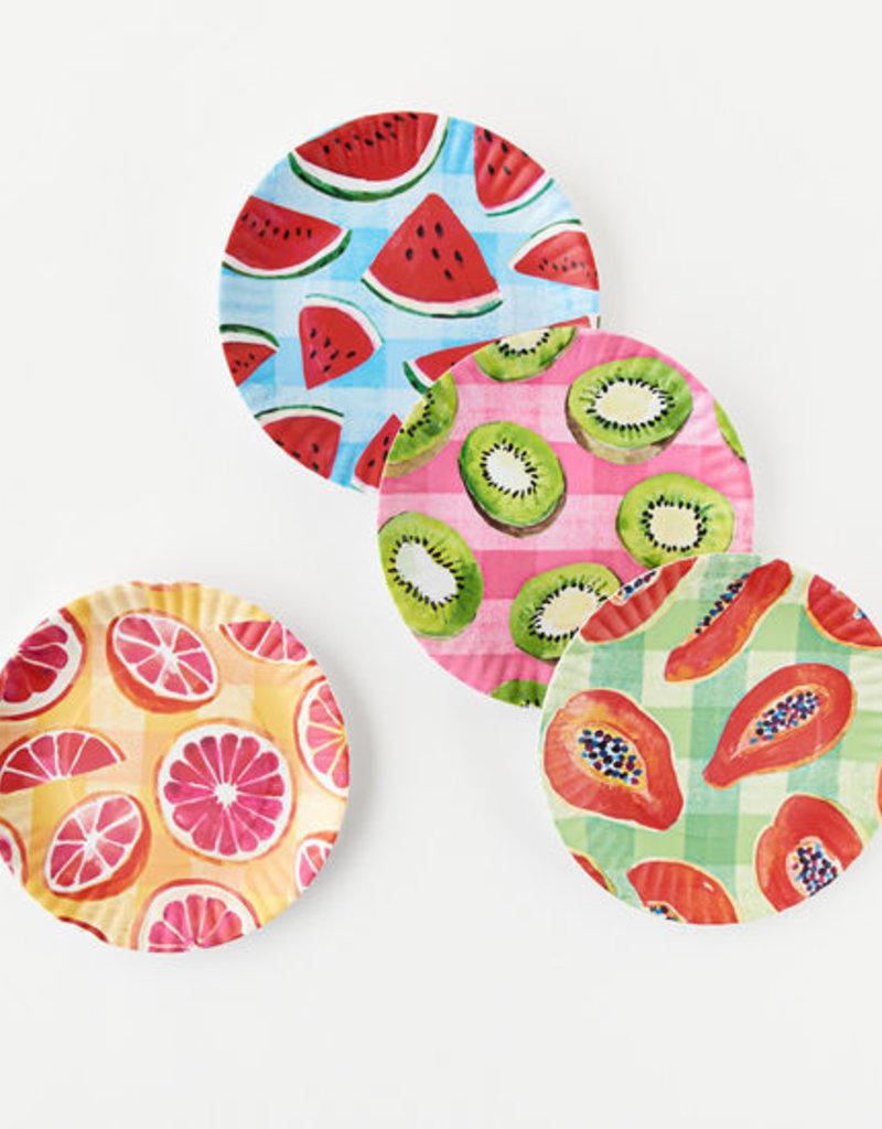 Gingham Fruit Paper Plate-Set of 4