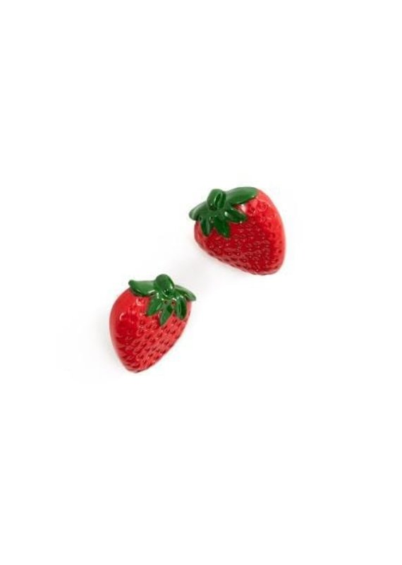Strawberry Stud Horn Earrings