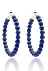 Matte Beaded Hoop Earrings Navy